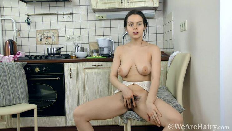 Ole Nina has sexy fun in her kitchen