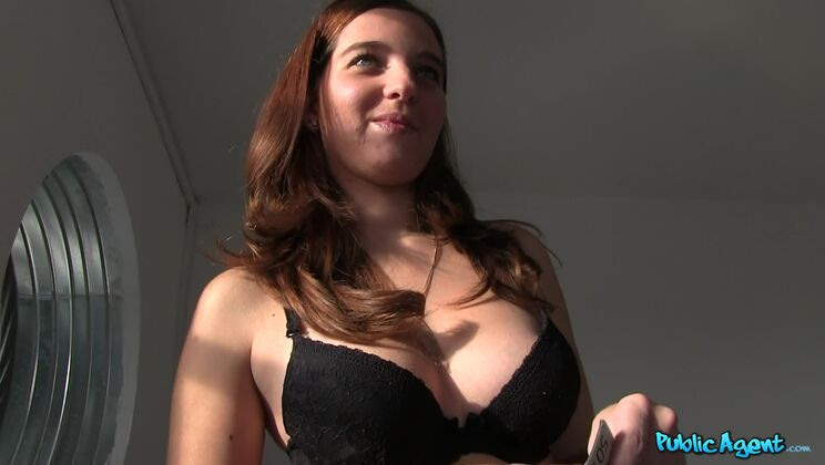Redhead Is Shy to Get Nude for Cash