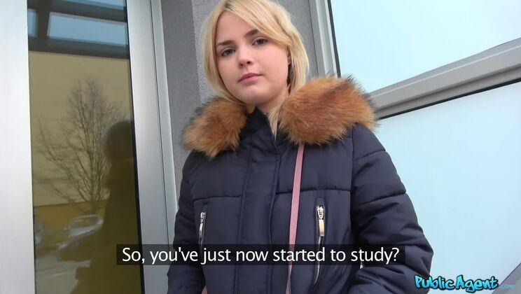 Hot blonde gets a mouthful of cum